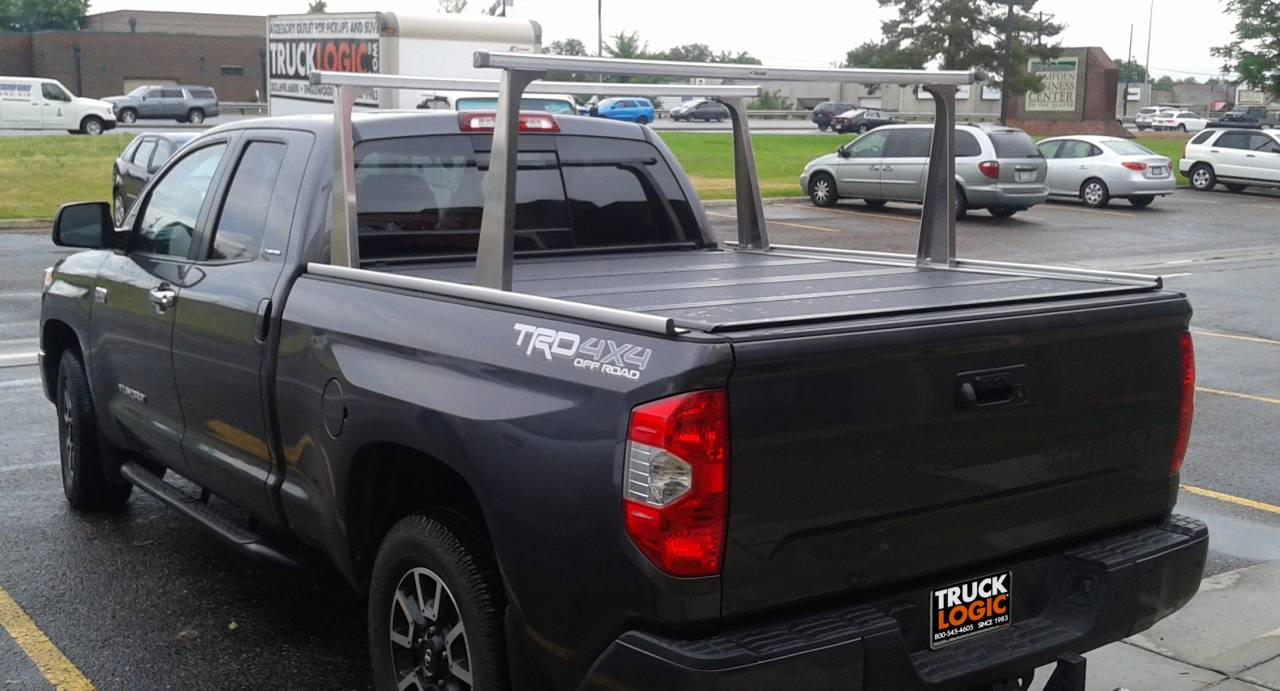 Photo Gallery Truck Logic Customer Photos Adarac Aluminum Pro Ladder Rack And Bak Flip Mx4 Tonneau Cover On A Toyota Tundra